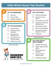 printable house cleaning schedule daily cleaning routine printable housewife how to s