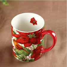 creative painting mugs for woman red flower design coffee mug