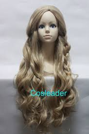 halloween blonde wigs quality thick disney princess cinderella wig long curly with braid