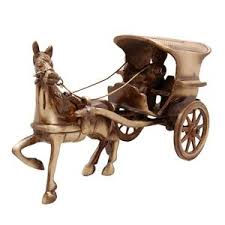 gorgeous brass carriage cart ornament statue