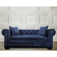 Chesterfield Style Sofa by Home Design Blue Velvet Chesterfield Sofa Beach Style Large
