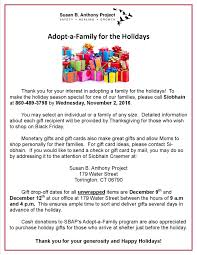 thanksgiving holiday dates adopt a family for the holidays susan b anthony project
