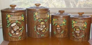 owl canisters for the kitchen vintage owl canisters treasure craft vintage owl coffee canister