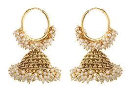 big jhumka gold earrings ashiana designer gold big jhumka with pearl drop earrings at
