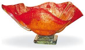 blown glass orange glow ruffled bowl contemporary