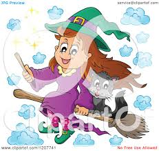 cute halloween clipart free cartoon of a cute halloween witch and black cat flying on a
