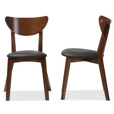 Black Walnut Dining Chairs Set Of 2 Sumner Mid Century Faux Leather Dining Chairs Black
