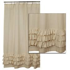 Ruffled Shower Curtains Country Bathroom Ruffled Flax Shower Curtain