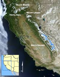 Sierra Nevada Mountains Map Glaciers Of California Glaciers Of The American West