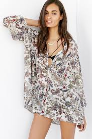 baby doll blouses lyst ecote paisley baby doll blouse in brown