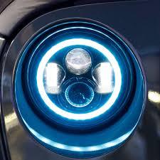 jeep wrangler blue headlights led jeep speaker headlights halo aqlighting