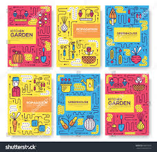 Garden Layout Template by Gardener Watering Plants Greenhouse Thin Line Stock Vector