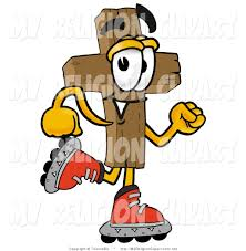 religion clip art of a wooden christian cross mascot cartoon