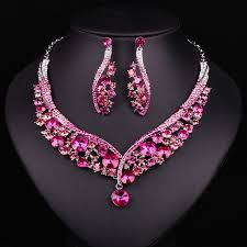 bridal jewelry necklace earrings images Fashion indian jewellery pink crystal necklace earrings bridal jpg