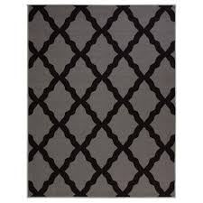 Grey Bathroom Rug by Ottomanson Glamour Collection Contemporary Moroccan Trellis Dark