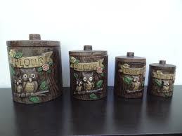 vintage treasure craft owl canisters set of 4 owls pinterest