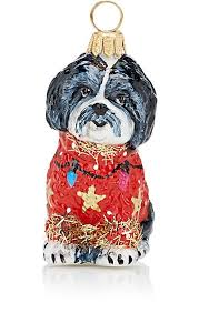 to the world shih tzu with sweater glass ornament