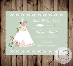 floral teepee baby shower invitation teepee baby shower invite