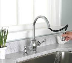 satin nickel wall mount pull down kitchen faucet two handle side