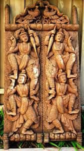 decorating hand carved wood doors design with man detail carved