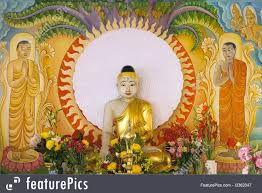 religious symbols enlightened buddha sitting the bodhi tree