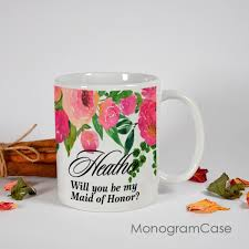 floral personalized mug for of honor monogramcase