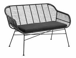 banc canap banc canapé de jardin en osier avec coussin noir 126x76x83cm