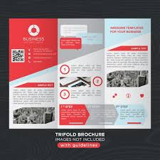 tri fold brochure template free download red gray business trifold brochure layout template vector free
