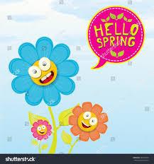 vector spring cartoon flowers on orange stock vector 362257904