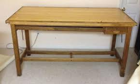 Antique Oak Drafting Table Hamilton Drafting Table Desk Solid Wood Wooden Oak Vintage 50s