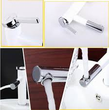 tall 360 rotate type basin faucet white and chrome finish bathroom
