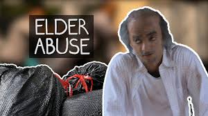 elder abuse social experiment cardboard colle with loop