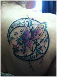 butterfly moon tattoo designs for on upper back celtic moon