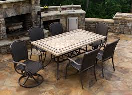 High Top Patio Furniture Set - 67 stone top patio table stone veneer black patio dining table