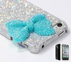 Cute Ways To Decorate Your Phone Case Silver Glitter Cute Girls Blue Crystal Bow Hard Case Cover For