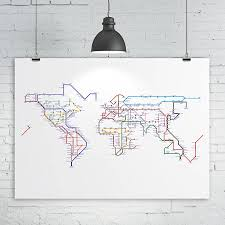 Nyc Subway Map Poster by Subway Tube Metro World Map Print By Kiaco Notonthehighstreet Com