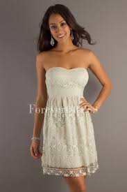 white strapless knee length studded with lace up graduation dress