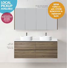 siena 1500mm white oak timber wood grain bathroom vanity with
