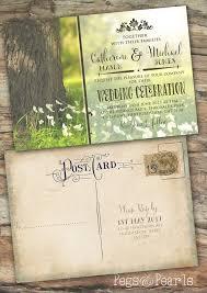 postcard wedding invitations personalised photo rustic vintage postcard wedding
