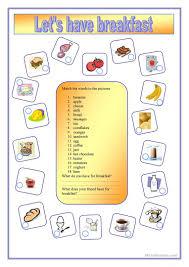 19 free esl breakfast food worksheets