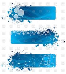 blue banners with balls snowflakes and fir