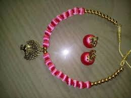 pink coloured beads necklace images Pink color silk thread necklace with earrings at rs 350 set jpg