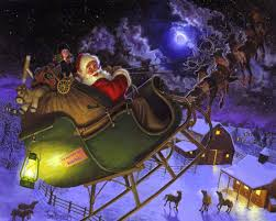 Flying Reindeer Christmas Decorations by Santa Claus Coming To Town Riding His Reindeer Sleigh Flying In