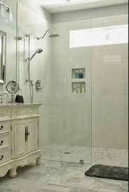 walk in standing shower with glass wall and no door no ledge