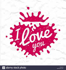 i love you lettering in heart shape splash vector design retro
