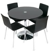levv roma 95cm glass dining table with 4 dining chairs u2013 next day