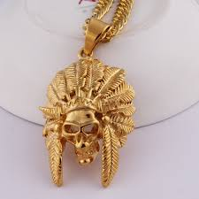 gold big pendant necklace images Fashion jewelry hiphop necklace gold chain colored skull indian jpg