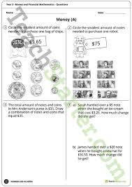 money and financial mathematics worksheets year 3 teaching