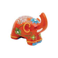 painted ceramic elephant money box small orange