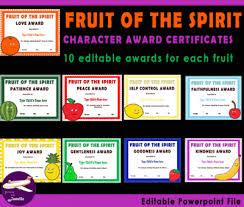 editable fruit fruit of the spirit character class award certificates 90